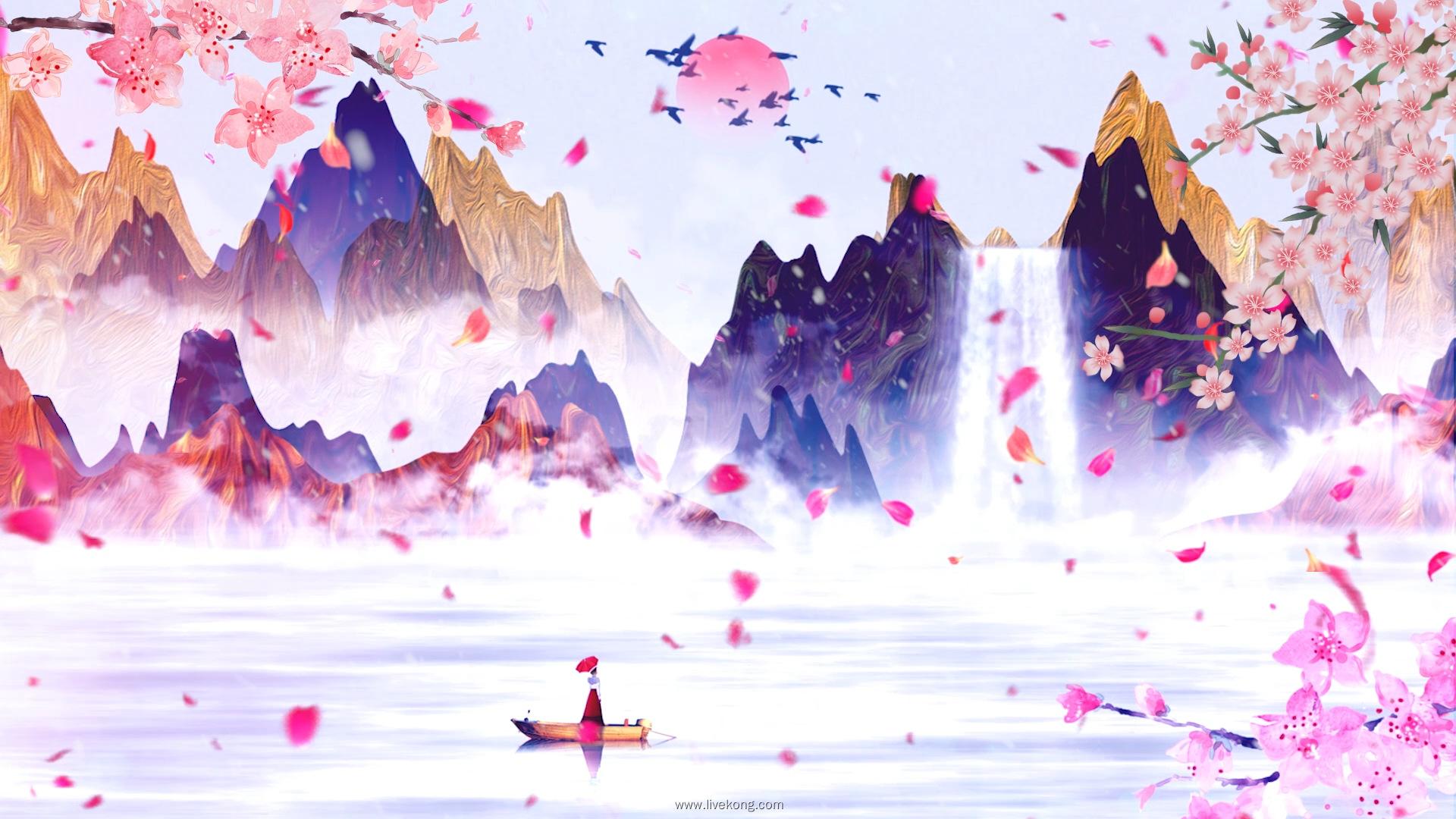 序列 01.00 01 17 16.Still006 - 歌曲女儿情led配乐成品视频背景 水墨山水演出大屏背景